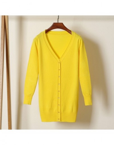 2019 Spring Autumn Long Cardigans Women V Neck Long Sleeve Knitted Sweater Coat Solid Single Breasted Open Stitch - yellow -...