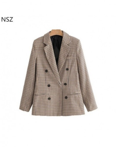 Women Elegant Plaid Blazer Suit Long Sleeve Double Breasted Slim Checked Coat Formal Office Work Jacket Houndstoot Outerwear...