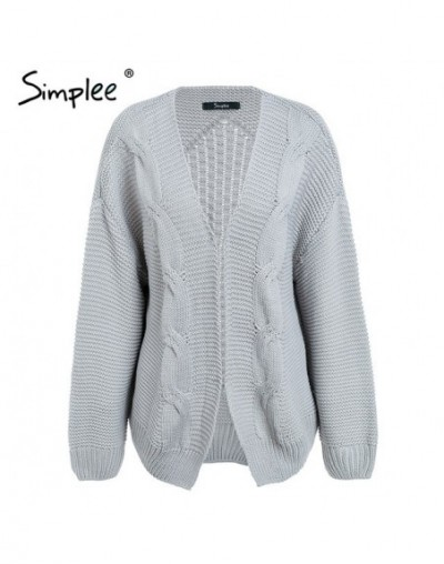 Elegant warm autumn winter sweater cardigan women Twist knitted winter sweater cardigan Casual autumn grey cardigan - Gray -...
