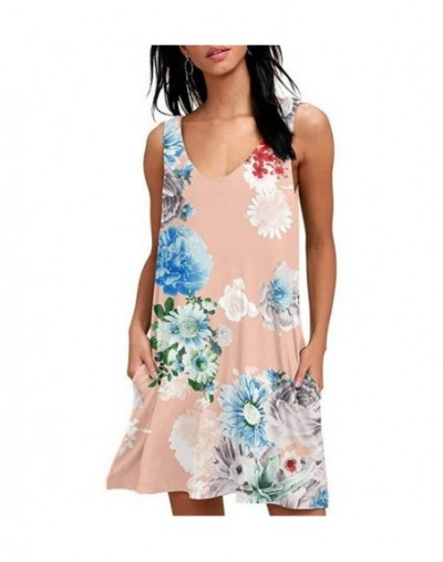 2019 Summer Dress Women Sexy V-neck Vintage Print Dress Female Sleeveless Loose Casual Tank Pockets Dress Plus Size 2XL Vest...