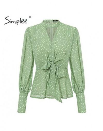 Vintage dot print v-neck women chiffon blouse shirt Bow tie high waist peplum tops Puff sleeve female tops blouse shirt - Gr...