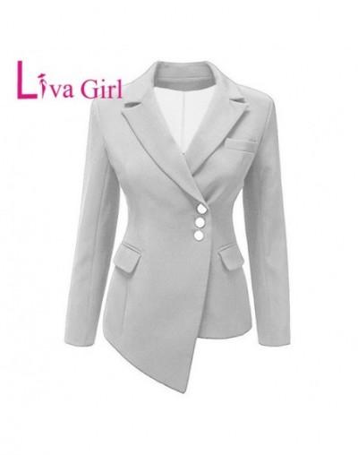 Ladies Office Long Sleeve Plus Size Blazers Women 2019 Spring Asymmetric Hem Lapel Coat Demure Female Work Jacket XXXL - Whi...