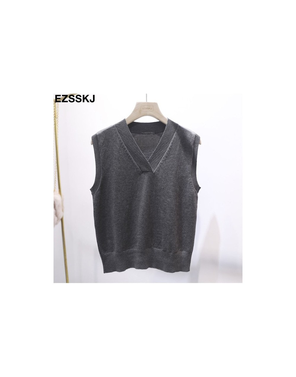 basic casual plus size spring Autumn Sweater vest Women sleeveless loose V-neck sleeveless Sweater female Jumpers pullover -...