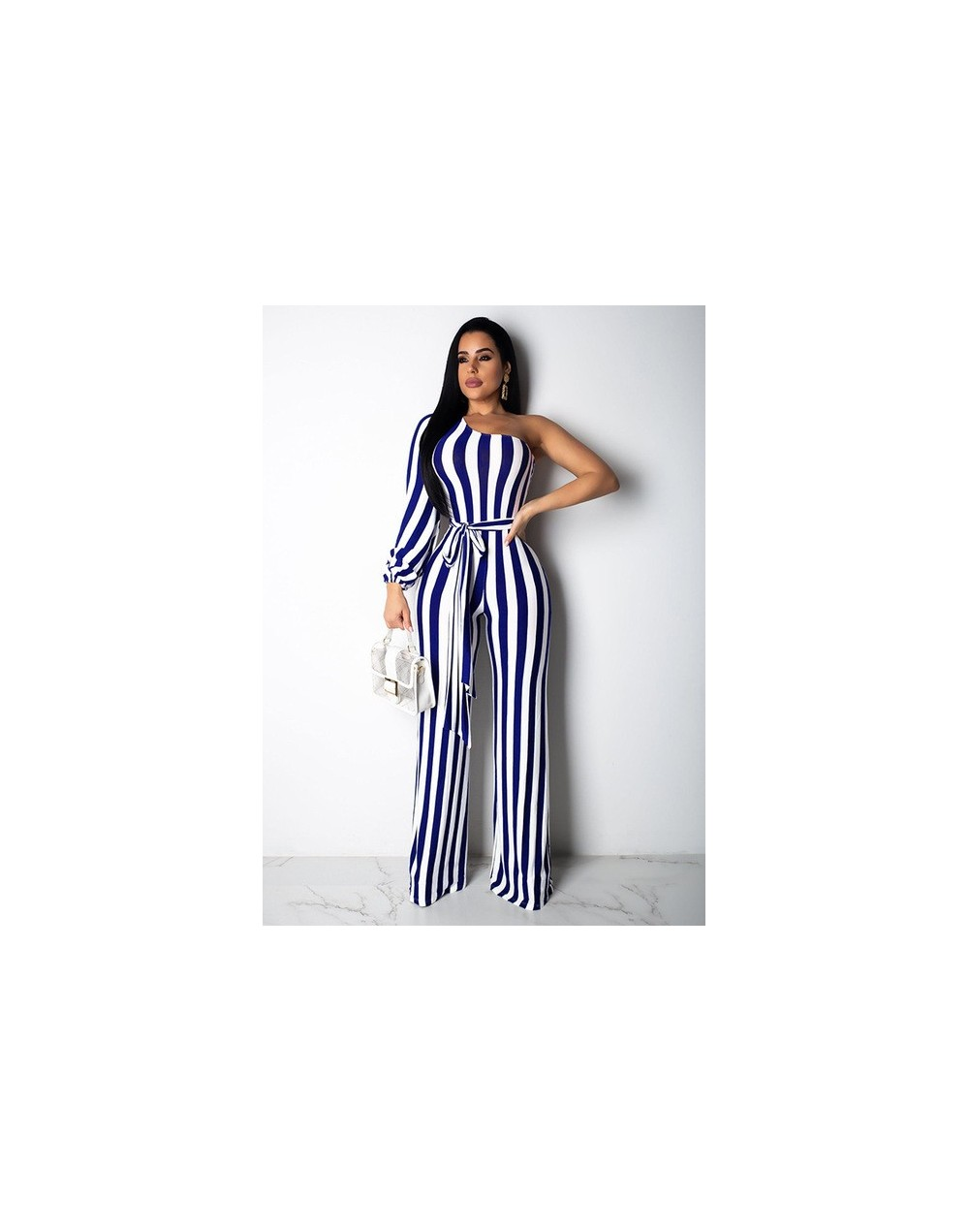 Echoine Striped One Shoulder Playsuit Jumpsuit Long Wide Leg Pants Rompers Long Sleeve With Belt 2019 New Hot Casual Jumpsui...