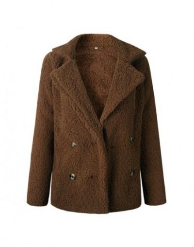 Wool Winter Coat Women Autumn Turn Down Collar Loose Jacket Female Casual Jumper 2018 Faux Fur Coat Ladies Coat - coffee - 4...
