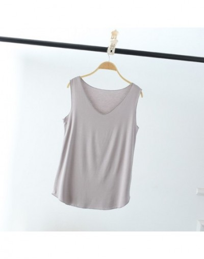Women Summer Tank Sleeveless V Neck Tops Loose Singlets Vest Slim T Shirts Soild Color Girls Tees Camisetas Plus Size - gray...