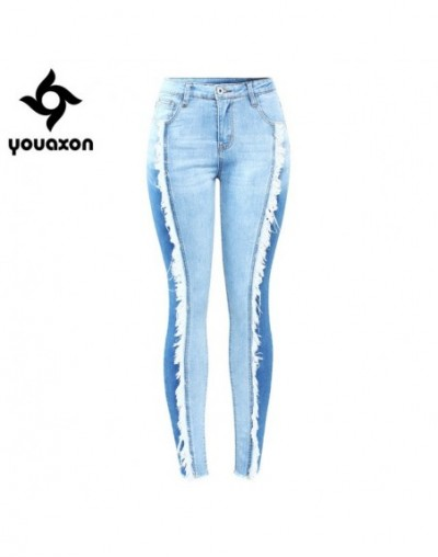 New Arrived Plus Size Tassel Jeans Woman Stretchy Patchwork Denim Skinny Pencil Pants Trousers For Women - blue - 473978342432