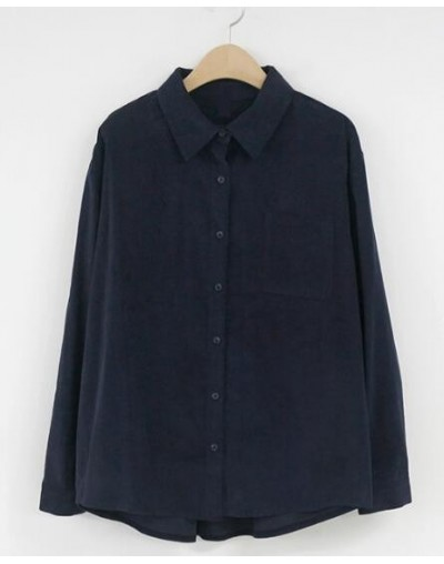 Basic Shirts Blouses Hot Sales Women Fashion Long Sleeve Casual Tops Cute Sweet Blue Brown Vintage Button Shirt Corduroy Top...