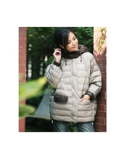 Literary large size of yan yan patchwork light color light combination with a warm cotton dress - beige - 483058588937-1
