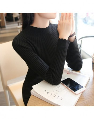 Autumn and Winter 2018 New Semi-high-collar Sweater Ladies'Underwear Slim Clothes Long Sleeve Knitted Underwear - see chart ...