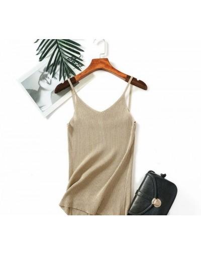Lurex Glitter Summer Women Tank Top Sexy V Neck Camisole Sleeveless Tops Slim Knitted Shirt Female - apricot 812 - 4S3075587...