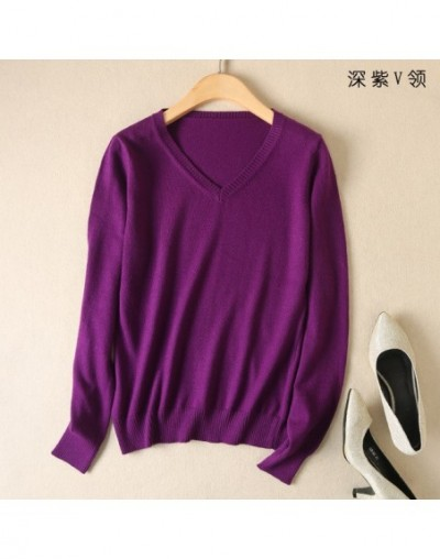 Cashmere Sweater V Neck Women Fashion Pullovers Knit Cashmere Female Sweater Women Slim Knit Coat Blouse Winter Knitwear whi...
