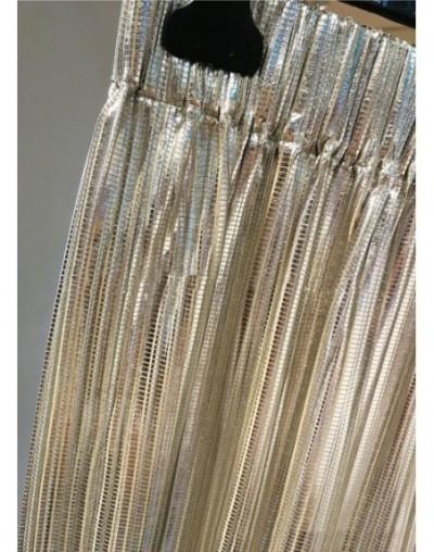 Shining Silver Elastic Waist Pleated Midi Skirt - 2019 Spring Summer Skirt - Long Style Skirt - 413080701000-2