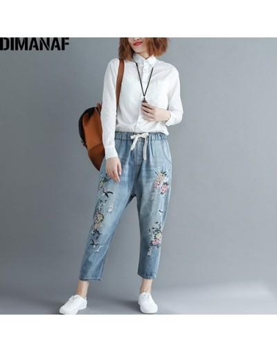 Women Jeans Long Pants Female Trousers Denim Vintage Hole Embroidery Floral Elastic Waist Autumn Loose Plus Size M-3XL - ZHI...