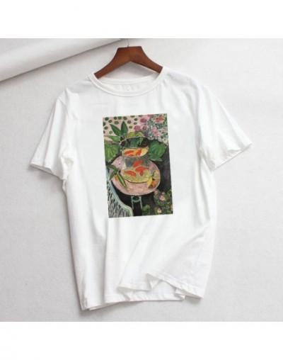 Summer Large Size Loose Casual Fashion Matisse Art Print Cartoon Letter Short Sleeve O-neck tops Female Vintage Loose T-Shir...