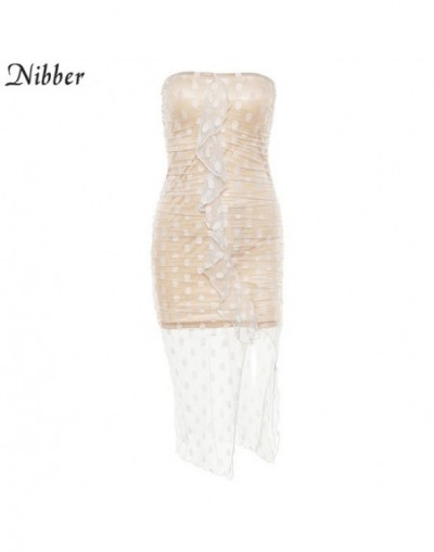2019 spring Mesh two-layer stitching women's club party dress summer ladies Casual vacation sleeveless Strapless dress - Whi...