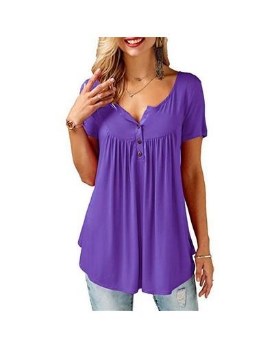 2019 Women Summer V-Neck Short Sleeve T shirts Loose Sexy camiseta feminina T Shirts Female Plus Size Long Style Tops - purp...