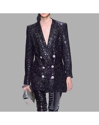 High Quality Women Coat New Fashion 2019 Runway Sequined Blazer Notched Long Sleeve Double Breasted Long Black Blazer Outerw...