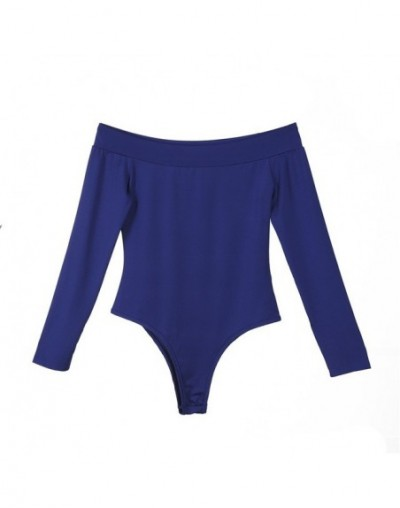 New autumn Women ladies long sleeve Bodycon Bodysuits Off Shoulder solid slim sexy bodysuits short overalls - Blue - 4539558...