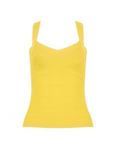 2018 Classic Long Style Bandage Vest Tops Red Wholesale Plus Size XL - YELLOW - 4F3059526579-3
