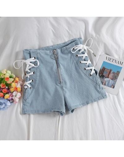 2019 New Summer Blue Strap Jeans Shorts Women High Waist Cotton Shorts Big Size Girl Denim Shorts Streetwear Hot PD296 - Sky...