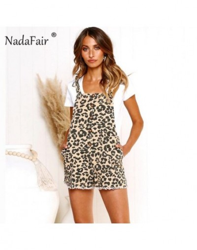 casual leopard print playsuits women strap lace up loose summer playsuits overalls animal print jumpsuit rompers - Khaki - 3...