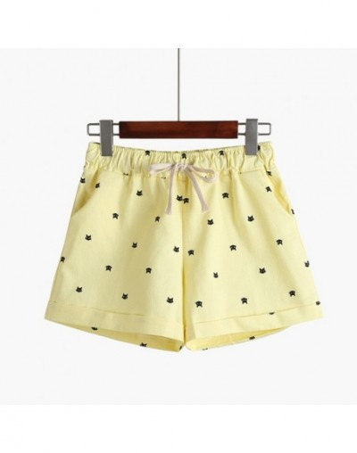 2018 New Cotton Women's Casual Shorts home-style cat's head candy-colored Shorts - Yellow - 413962994679-7