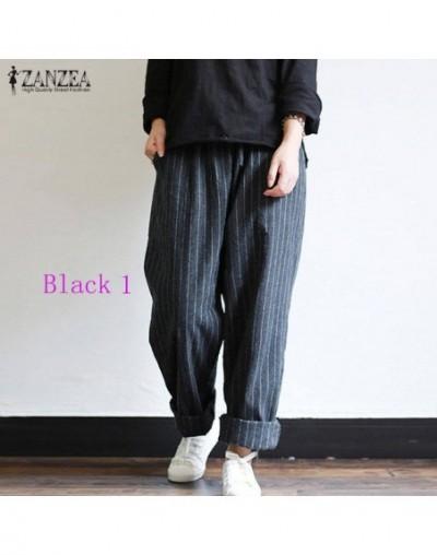 5XL Autumn Striped Pants Women Casual Baggy Pant Turnip Long Pantalon Palazzo Lady Elastic Waist Harem Pants Plus Size - Bla...