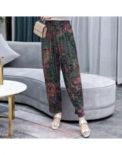 2019 New Summer Pants Women Vintage Elastic Waist Print Floral Elegant Trousers Female Casual Wide Leg Pants Plus Size XL-5X...