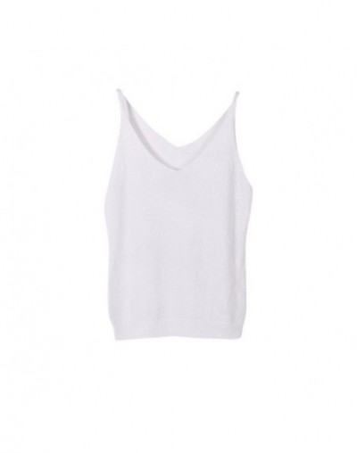 Sexy Women Fashion Knitting Vest Top Sleeveless V-Neck Blouse Casual Tank Tops Woman Summer Tops x - White - 54111219351084-10