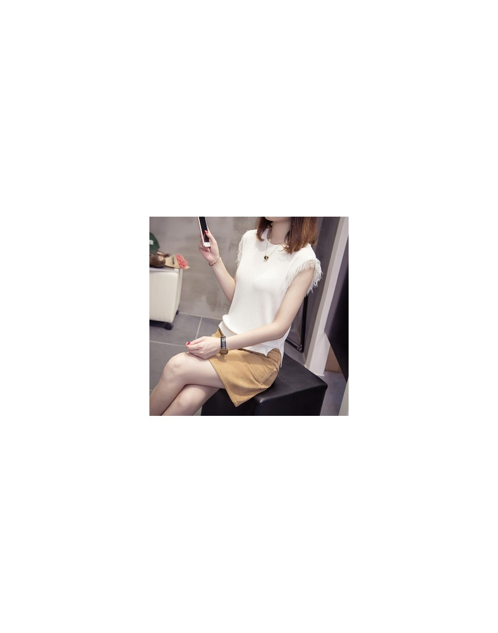 2018 NEW Straps for girls summer wear ice cream knitted sweater new style short fresh jacket sleeveless - see chart - 423995...