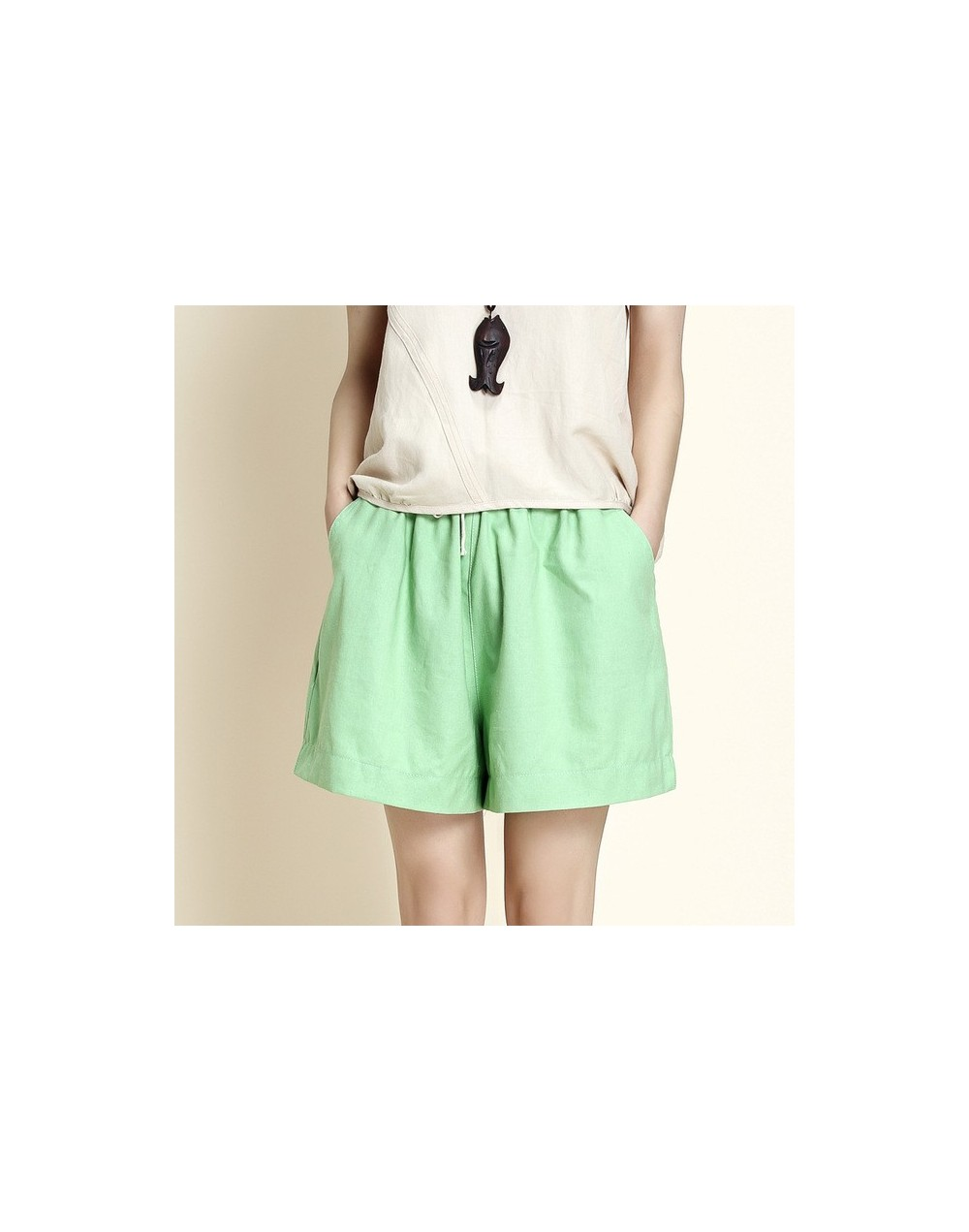 Brand Summer Women Cotton Linen Shorts Leisure Loose Short Pants Elastic Waist Casual Fashion Candy Color Big Plus Size - gr...