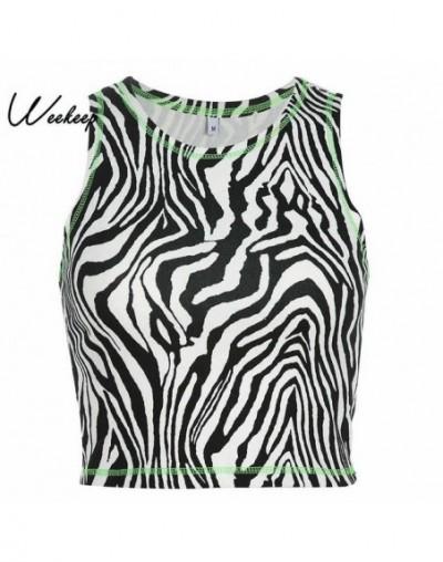 Zebra Pattern Sleeveless Tank Top Women Sexy Cropped Summer Streetwear Crop Top 2019 Bodycon O-neck Tank Tops - Black - 5511...