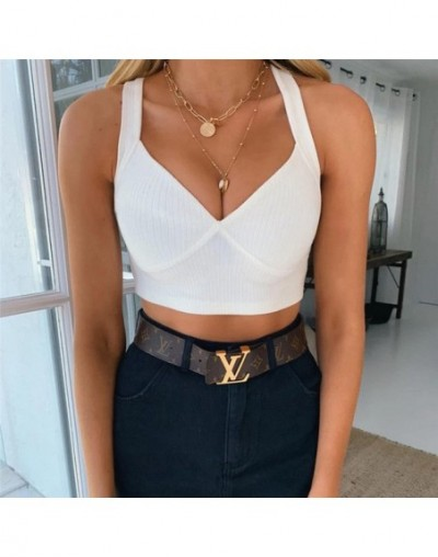 2019 New Backless Cross Tank Top Knitting V Neck Sexy Crop Tops Women Lady Casual Sleeveless Slim Solid Top - White - 5Z1112...