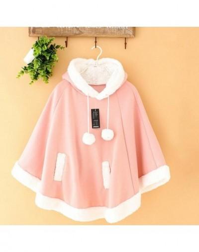 Women Winter Cloak Coat Jacket Wothout Button Women's Coat Mori Girl Sweet Outwear Harajuku School Commute Cute - pink - 4V3...