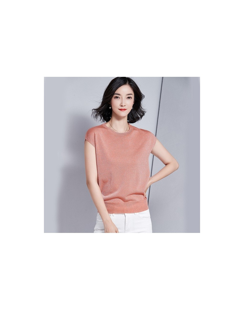 Slim Sweater Female Spring-Summer Knitted Shiny Euro-American Sweater Fashion Elegant Cozy Short Sleeve Sweater - Pink - 4A4...