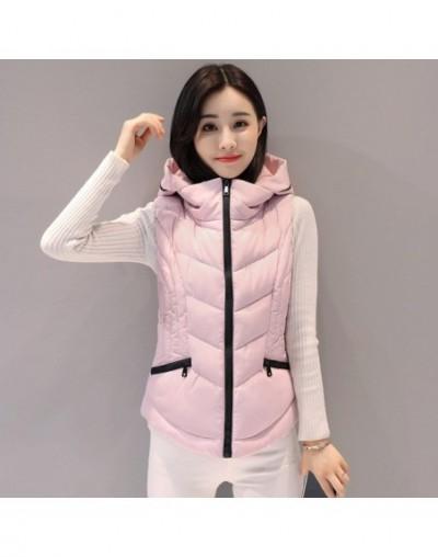 WaistcoatsVest Women Cardigans Jacket Winter Warm Women's Coats Down Vest With Hood Womens Vest Coat Colete Feminino - Pink ...