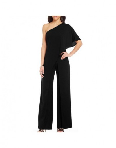 2019 One Shoulder Jumpsuit Solid Color for Women High Waist Wide Leg Jumpsuits Overall Elegant Lady Fashion Loose Plus Size ...