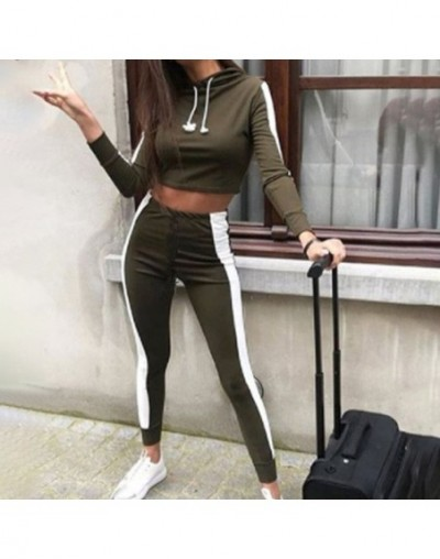 Two Piece Set Side Striped Tracksuit For Women Hooded Cropped Elasic Sports Women's TrackSuits Autumn 2019 Jogging Female Ou...