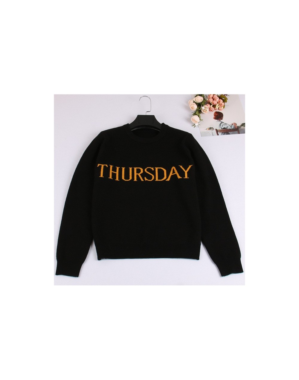 One Week Letters Fashion Women Sweater Black Knitting Pullover Sunday Monday Tuesday Wendnesday Thursday Friday Saturday Jum...