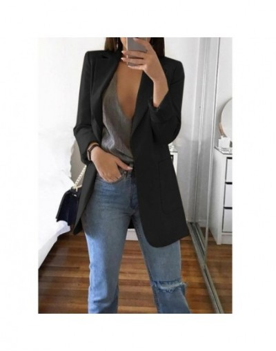 Spring Women Blazer Fashion Solid Long Sleeve Cardigan Jacket Suit Vintage Turn-down Collar Outwear Ladies Blazer Top - Blac...