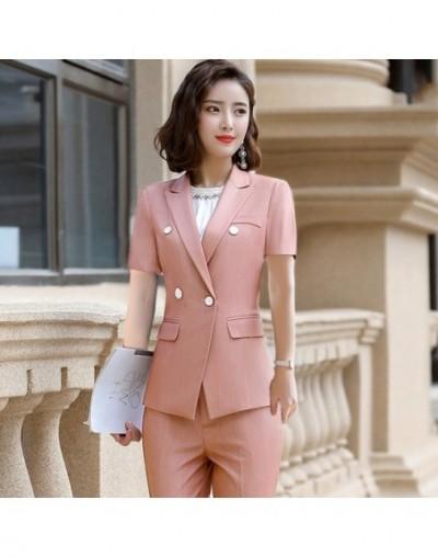 Summer Office Ladies Sky Blue Blazer Women Jackets Short Sleeve Female Work Wear Clothes Office Uniform Styles - Pink - 5Y11...