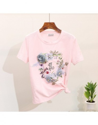 Women Heavy Work 3D Flower Printed Cotton Tshirts+ Jeans 2 Pieces Clothing Sets Suits - Pink Tshirt Only - 4Z3087002704-3