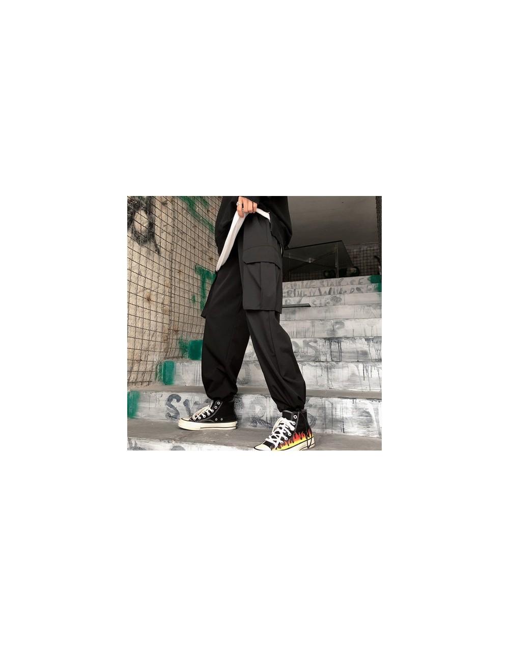 Black High Waist Wide Leg Cargo Pants Women Pockets Loose Streetwear Korean Pantalon 2019 Fashion Hip Hop Femme Trousers - b...