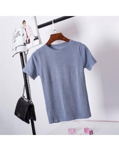 Knitted Summer T Shirt Women Casual Short Sleeves T-Shirt Breathable Elasticity Kintwear Top O-Neck Female Tshirt - blue - 4...