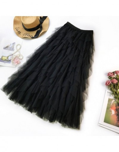 2019 Fashion Flounce High Waist Skirt Romantic Beautiful Women Ruffles Mesh Patchwork Pleated Skirt C852 - Black - 4Q4123134...