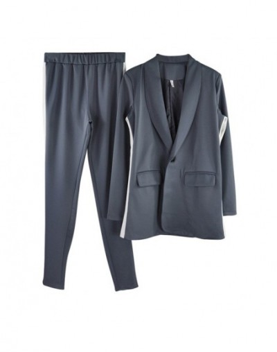 chic OL pant suits workwear single button long blazer jacket and tight pants womens two piece sets - Gray - 4T3985936604-3