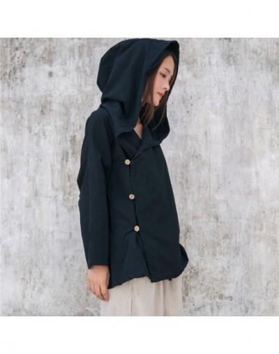 Solid Hooded Coat Women Autumn Novelty design Vintage Coat Jacket Plus size Cotton Linen Women Witch Robe Femme D051 - Black...