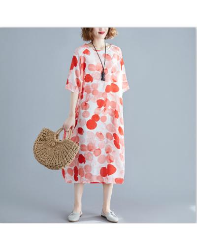 2019 Summer plus size loose vintage print Polka Dot women casual cotton linen midi dresses - Red - 4L4138301328-2