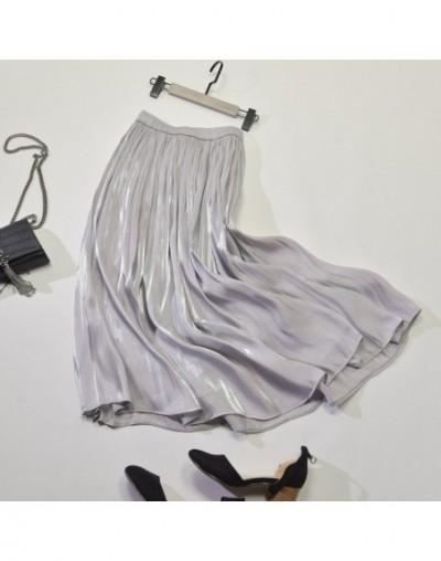 Silk Satin Skirt Midi Woman 2019 Cusual Women Skirt Pleated Korean Style Chiffon Beach Summer Skirts Womens With Elastic Wai...